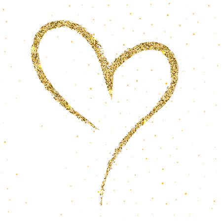 Hand-drawn, sketchy, doodle heart with sparkle and glow on white backdrop. A symbol drawn with a brush. Template Valentine or Mother day, postcards, printing on t-shirts with love for loved ones.
