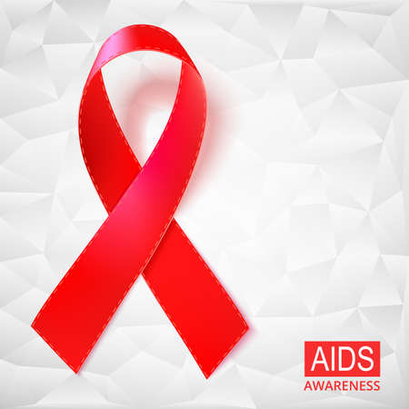 Realistic red ribbon vector illustration on white background made of triangles. Symbol of AIDS, HIV, heart disease, stroke awareness sign. Illustration