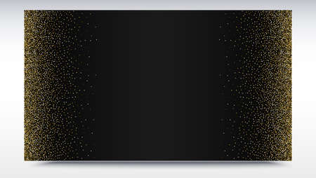 Black gradient backdrop with golden, shiny, glitter dust. Template for advertisement, VIP or luxury card, selling banner, cover and other design.