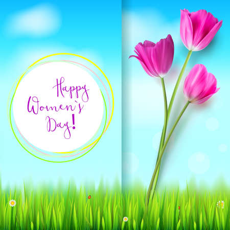 universal love: Happy women day, greetings card. Pink tulips on the blue summer sky backdrop. Green grass and white clouds. Inscription. Template for your invitation, cover or greetings.
