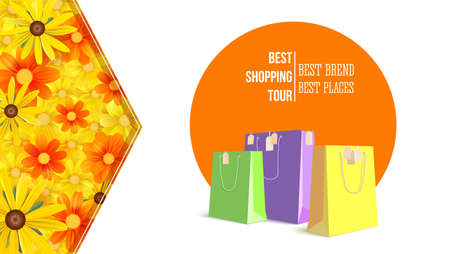 Best shopping tour, advertising banner with paper bags and label from new purchased items on bright summer backdrop