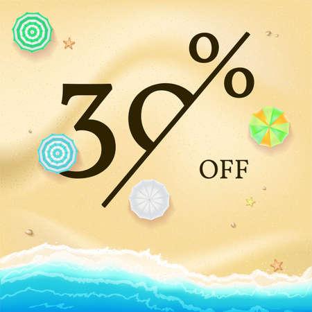 Vente de bannière publicitaire, conception de texte vintage. Remises de vacances d'été, fond de vente de la plage de sable et de la côte de la mer. Modèle pour les achats en ligne, les actions de publicité avec pourcentage de réductions.