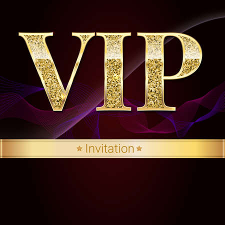 gold textured background: Golden symbol of exclusivity, the label VIP with glitter. Very important person - VIP invitation on elite, abstract a wave of smoke background, luxury card. Template for vip banners, invitation, cover