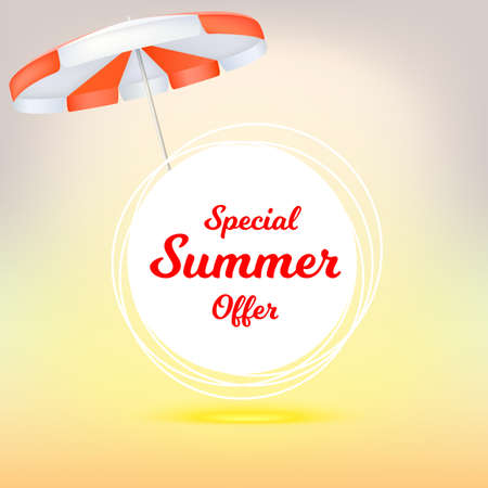 Special summer offer, ad summer banner with sun umbrella. Hot offers on backdrop of sun. Seasonal shopping concept. Promotion template for your online shopping, retail business, advertising banners Illustration