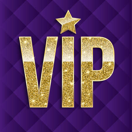 VIP golden letters with glitter on abstract quilted background, luxury card. Golden symbol of exclusivity. Very important person - VIP icon. Template for invitation, cover or banner. Illustration