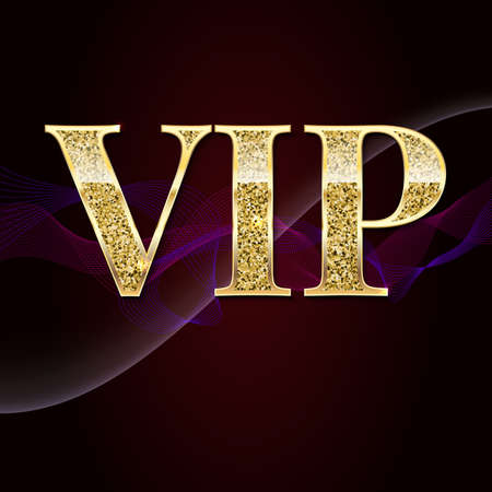 exclusive: Golden symbol of exclusivity, the label VIP with glitter. Very important person - VIP icon on elite, abstract a wave of smoke background, luxury card. Template for vip banners, invitation or cover.