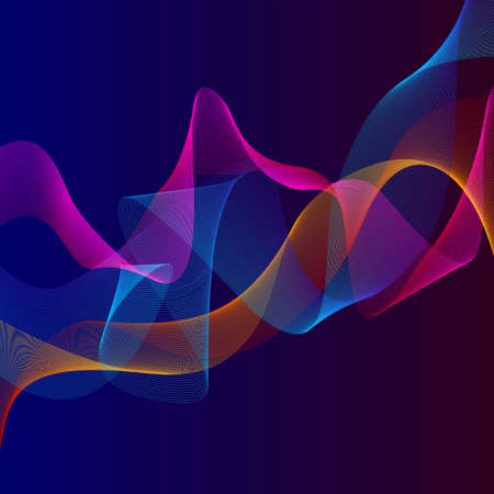 Smoky waves background. Structural curved pattern, flow motion illustration. Abstract backdrop, template for cover, banner, poster or packaging