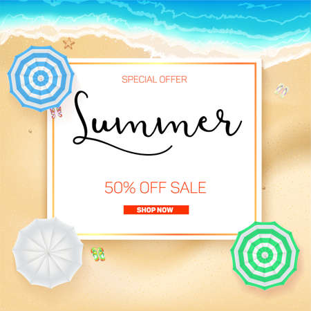 adverts: Selling ad banner, vintage text design. Summer vacation discounts, sale background of the sandy beach and the sea shore. Template for online shopping, advertising actions with percentage of discounts. Illustration