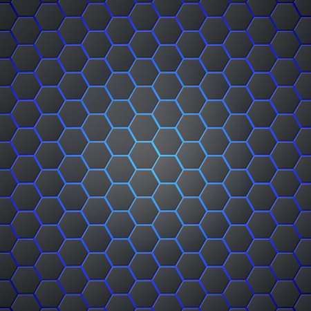 Honeycombs abstract 3d hexagonal seamless backdrop with blue electricity light. Metallic hexagons on blue background. Template for cover, posters, banners and other. Ilustração