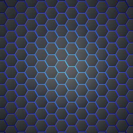 Nid d'abeilles abstrait 3d fond sans couture hexagonal avec lumière bleue de l'électricité Hexagones métalliques sur fond bleu. Modèle de couverture, affiches, bannières et autres. Banque d'images - 80637827