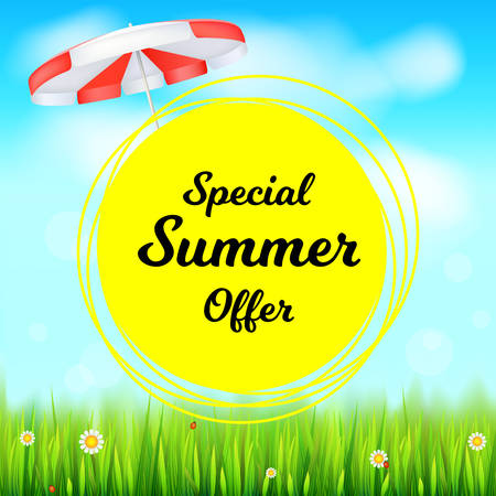 Special summer offer selling ad banner. Holiday discounts backdrop with big yellow sun, green field, white clouds and blue sky. Template for shopping, advertising signboard, price reduction poster. Illustration