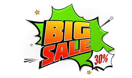 Big sale pop art splash background, explosion in comics book style, Advertising signboard, price reduction, sale with halftone dots, cloud beams on white backdrop; Vector for ad, covers, posters.