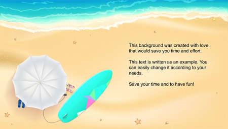 water wave: Summer sand of beach on the seashore, Umbrella, Mat, beach slippers and surfboard near the waves of sea; Horizontal summer background Template for online shopping, advertising actions, magazines.