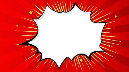 Pop art splash background, explosion in comics book style, blank layout template with halftone dots, clouds beams and isolated dots pattern on red backdrop. Vector template for ad, covers, posters.