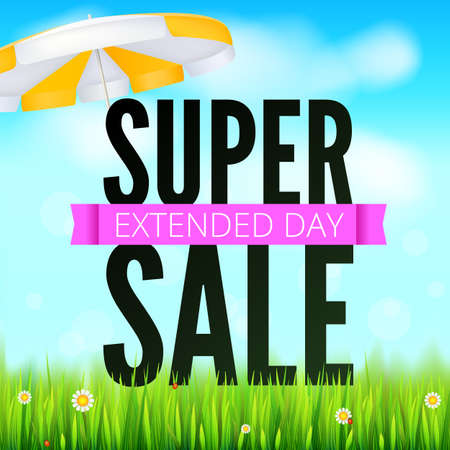 Summer selling ad banner, vintage text design. Holiday discounts, extended day super sale background with yellow sun umbrella, green field, white clouds and blue sky.