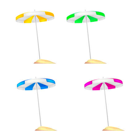 A set of colored beach umbrellas stuck in a small mound of Golden sand. Realistic colored umbrellas with reflections and shadows isolated on white background. 3D illustration Illustration