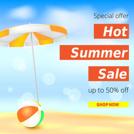 inflatable ball: Selling ad banner, vintage text design. Fifty percent summer hot discounts, The sandy beach background with sun umbrella and inflatable ball. Template for online shopping, advertising actions.