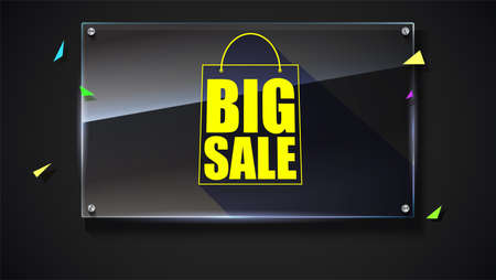 typescript: Big sale text banner on black backdrop, ready to print and use in advertising of products. Selling ad poster for black friday action with sign of shopping bag on glass plate 3D illustration.
