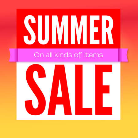 Summer sale commercial poster on hot background. Ad poster for shops with super sale on all kinds of items. 3D illustration