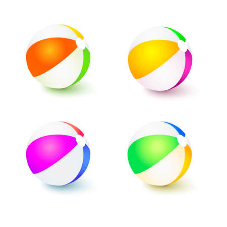 float fun: A set of colored inflatable beach balls. Realistic tri-colour bouncy ball with reflections and shadows isolated on white background 3D illustration.
