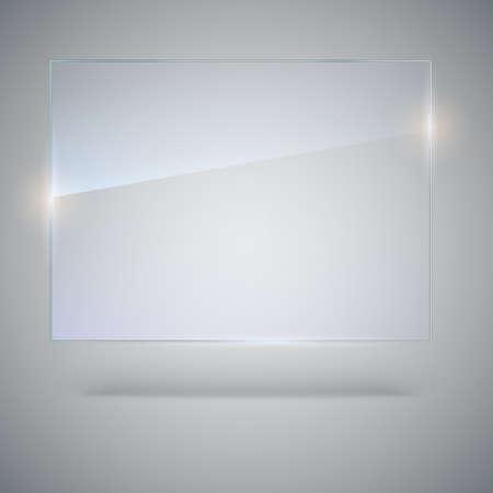 ベクターでは空に透明なガラス板。コピー スペースとモックアップ バナー ベクトル テンプレート。写真のハイライトの現実的なテクスチャと背景  イラスト・ベクター素材