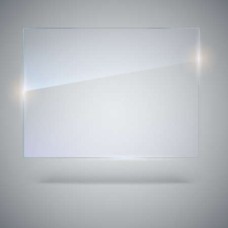 Blank, transparent vector glass plate. Vector template, mock-up banner with copy-space. Photo realistic texture with highlights and glow on the background. See through the plastic, 3D illustration.