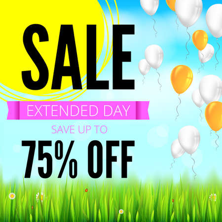 Summer selling ad banner with an inflatable colored balloons. Seventy five percent discounts, sale background, yellow sun, green field, white clouds and blue sky template for shopping, advertising.