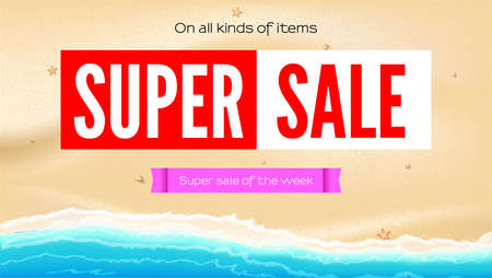 Summer sand of beach on the seashore. Selling ad banner. Summer super sale of the week. On all kind of items. The waves of sea. Summer sale horizontal background. Stock Illustratie