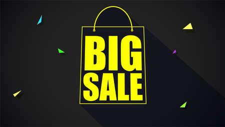 Grote verkoop tekstbanner op zwarte achtergrond. Klaar om af te drukken en te gebruiken in advertenties voor producten. Verkoopadvertentieaffiche voor zwarte vrijdagactie en voor winkels met teken van boodschappentas. 3D illustratie. Stockfoto - 82693573