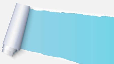 Realistic torn open paper with space for text on blue background, holes in paper. Torn strip of paper with uneven, torn edges. Coiling torn strip of paper