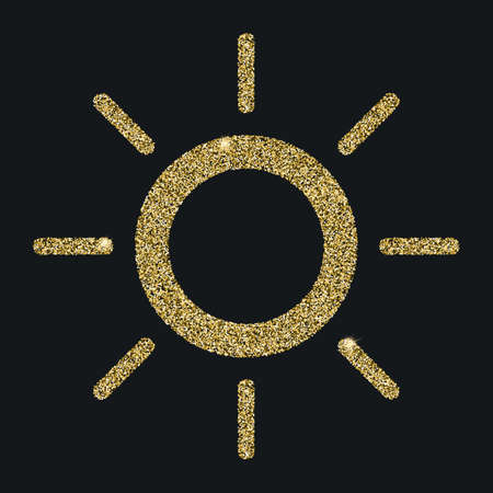 Sun icon with glitter effect, isolated on black background. Outline icon, vector pictogram. Symbol from golden particles dust. Illustration