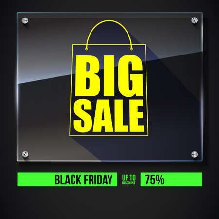 glass reflection: Big sale text banner on black backdrop. Ready to print and use in advertising of products. Selling ad poster for black friday action with sign of shopping bag on glass plate. 3D illustration.