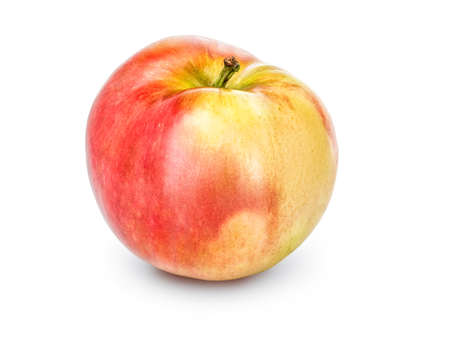 Whole apple with stalk isolated on a white background, close-up. A fresh single apple cut out with the texture and clipping path.