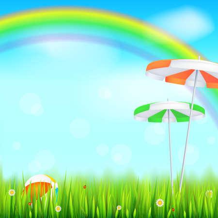 rainbow umbrella: Big bright rainbow above green field summer background.