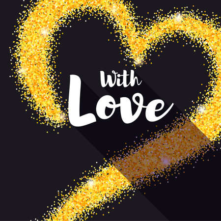 Hand-drawn golden heart with glitter. With Love poster for your loved ones. Shining dust, the shape of heart on black background. Vector template for t-shirts, prints, greeting cards or wedding cards. Illustration