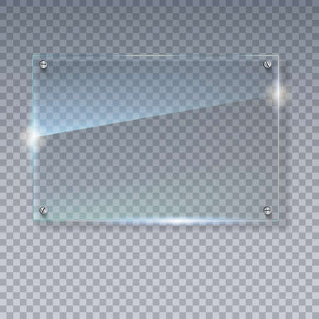 steel plate: Blank, transparent vector glass plate. Vector template, mock-up banner with copy-space. Photo realistic texture with highlights and glow on the transparent. See through the plastic, 3D illustration.