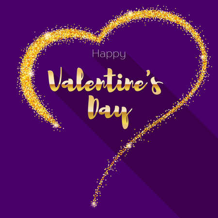 Greeting card with hand-drawn heart. Golden heart from sand, stardust with glitter. Poster for Valentine s day for your loved ones. Illustration