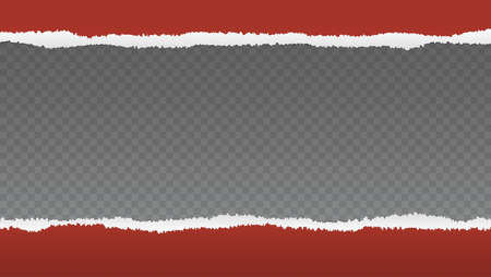 Realistic red torn open paper with space for text on transparent, horizontal background, holes in paper. Torn strip of paper with uneven, torn edges.