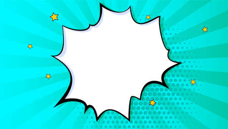 Pop art splash , explosion in comics book style, blank layout template with halftone dots, comic bubble. Clouds beams and isolated dots pattern. Thoughts bubble in pop art comics style.