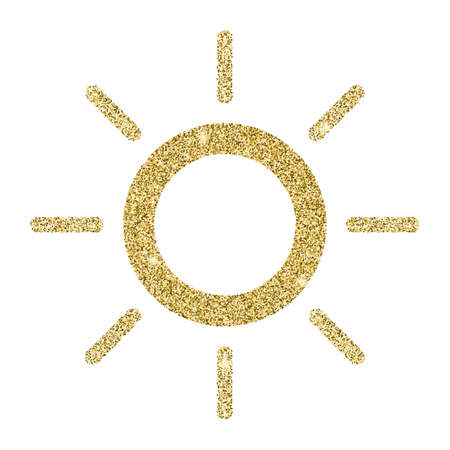 Sun icon with glitter effect, isolated on white background. Outline icon, vector pictogram. Symbol from golden particles dust. Illustration