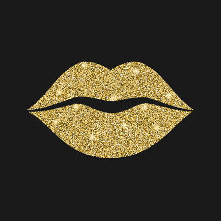 Lip icon with glitter effect, isolated on black background. Outline icon of mouth, vector pictogram. Symbol of kiss from golden particles dust.