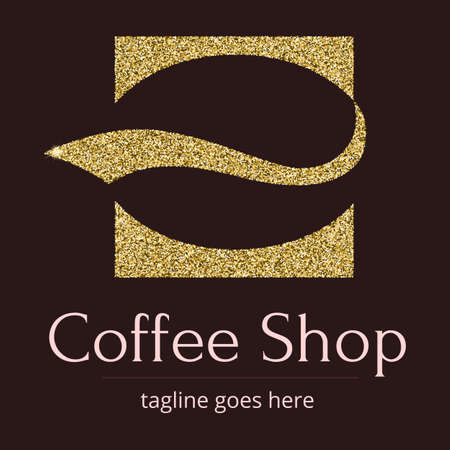 Logo with a Golden glitter, sheen. Symbol for coffee shop or coffee business. A stylized coffee bean in the form of a silhouette of the character. Logo template for brending and identity. Illusztráció