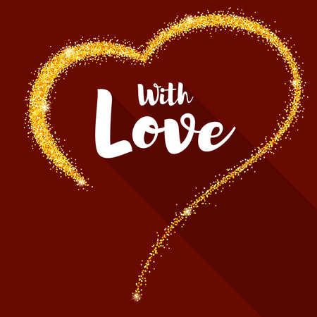 Hand-drawn golden heart with glitter. Valentine s day poster for your loved ones. Shining dust in the shape of heart. Vector template for t-shirts, prints, greeting cards, cover or wedding cards. Illustration