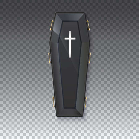 brushed: Coffin icon with a metal crucifix and handles on an isolated transparent background - 3D illustration. Elegant black coffin with glare and yellow handles. Sign of the Halloween holiday.