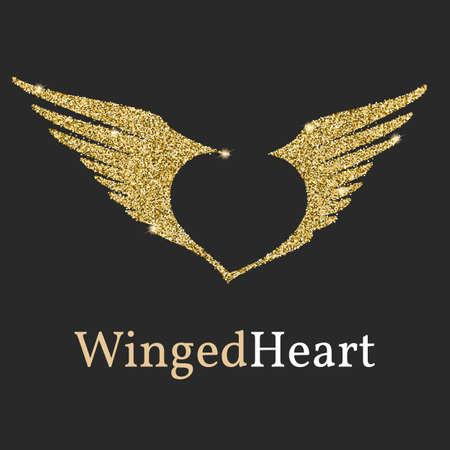 황금 반짝이 로고, 광택. 날개와 부정적인 마음을 상징. 비행 날개, brending 및 신분을위한 로고 템플릿.