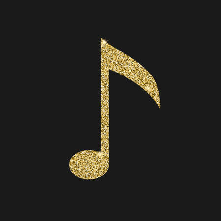 black metallic background: Musical notes icon with glitter effect, isolated on black background. Outline icon of notes, musical symbols, vector pictogram. Symbol from golden particles dust. Illustration