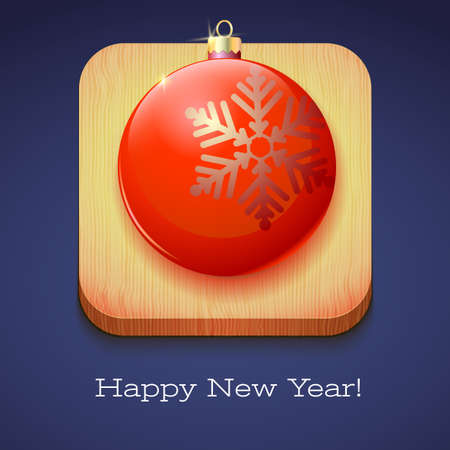 christmas postcard: Greeting card Happy New Year. Red Christmas ball with a large snowflake on wooden background. Volumetric 3D icon with shadows and reflexes, 3D illustration.