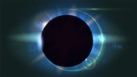 ray of light: Light rays and lens flare backdrop. Glow light effect. Star burst with sparkles. Solar eclipse, astronomical phenomenon - full sun eclipse. The planet covering the Sun in eclipse Illustration