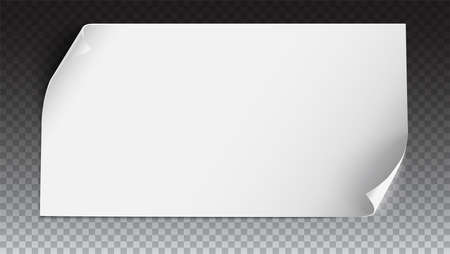Curved paper banner on colored background. Realistic vector paper template with curl corners, 3D illustration. White blank paper. Curved horizontal banner, isolated on trasparent