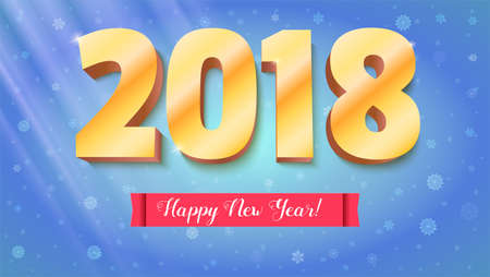 christmas backdrop: Happy New Year 2018. Volumetric numbers from gold. Red banner with text. Congratulation poster on snow backdrop. Greeting card, poster, brochure or flyer template. Vector 3D illustration